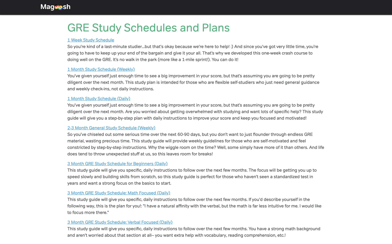 Screenshot of Magoosh study plans